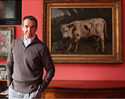 Jeff Koons et le taureau de Courbet © Tony Cenicola/The New York Times